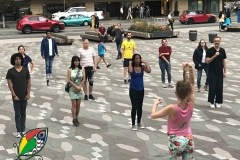 Teaching Free class on Robson Square with Dance In Transit